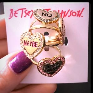 Betsey Johnson Not Your Bae stacked ring set NWT